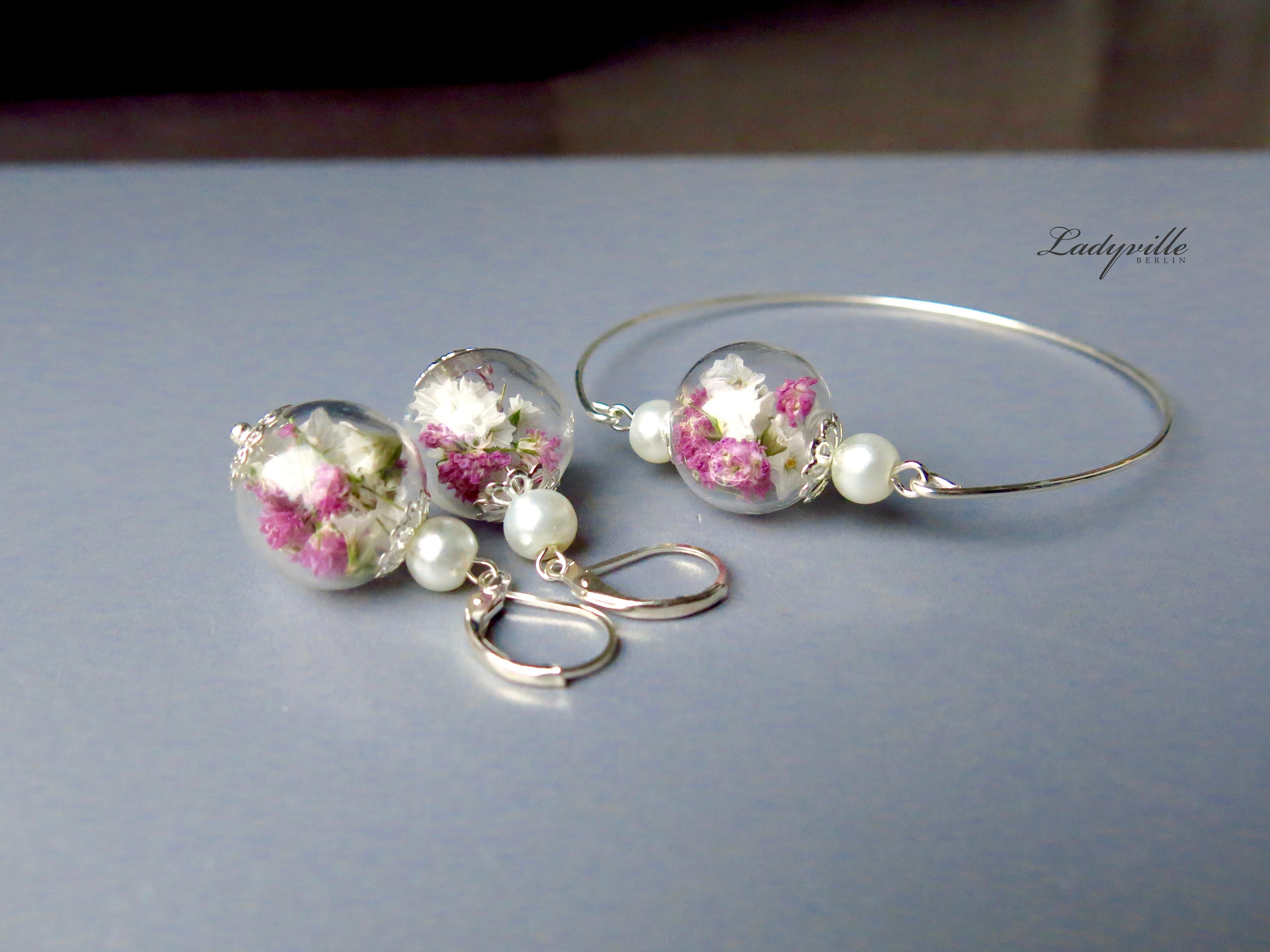 Getrocknete Blüten ladyville schmuckset echte getrocknete blüten designerschmuck
