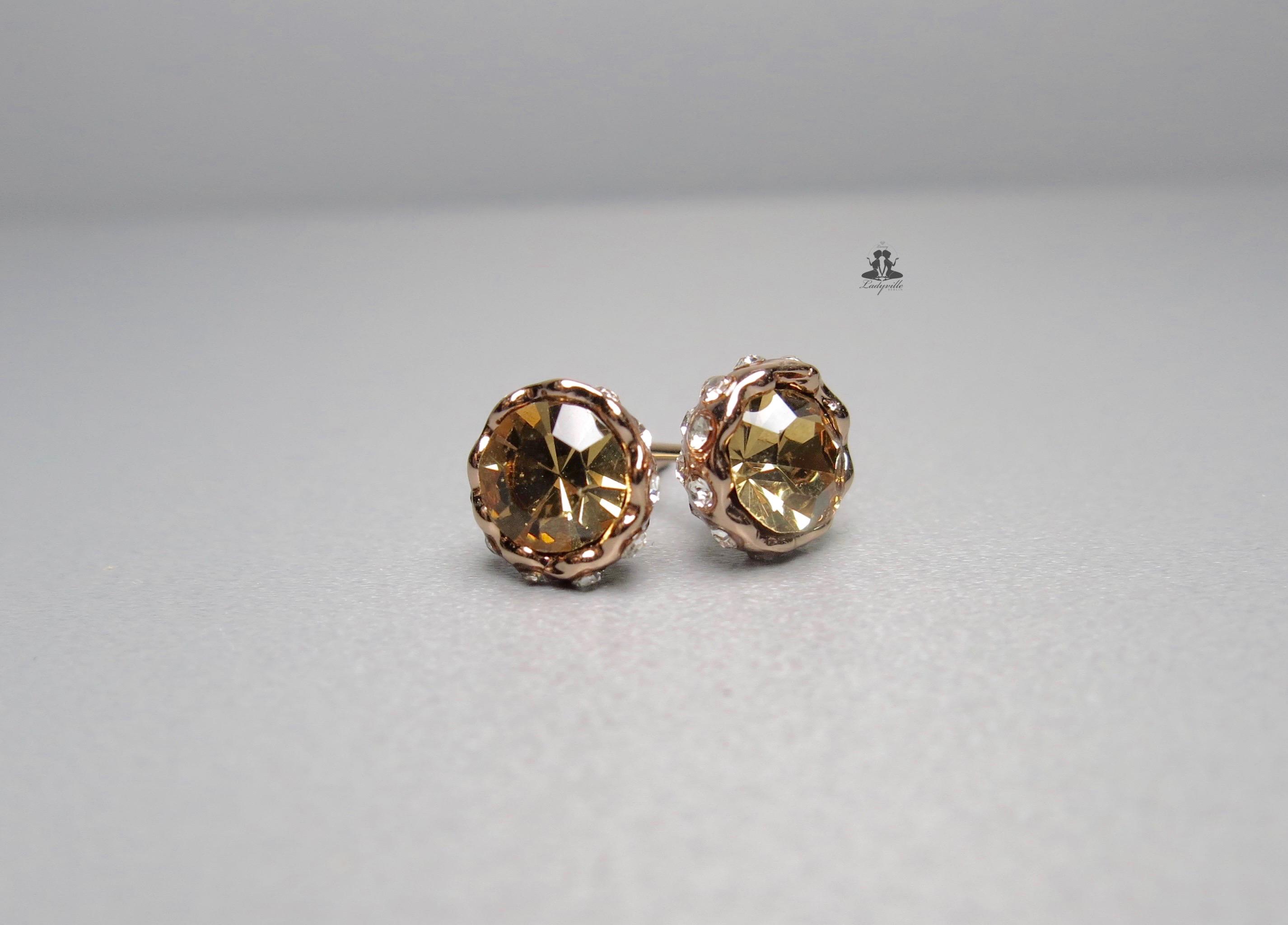 ladyville ohrringe gold rose strass kristall. Black Bedroom Furniture Sets. Home Design Ideas