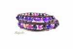 Fashion Wickelarmband Echtleder - Purple Glam